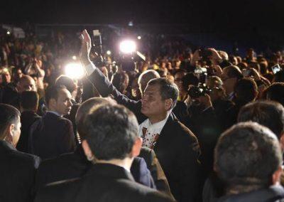 El presidente del Ecuador Rafael Correa visita en España a la comunidad ecuatoriana.
