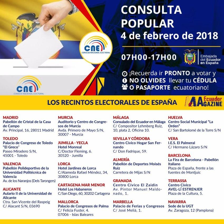Ecuatorianos en Madrid acudirán a las urnas el próximo 4 de febrero para participar en la Consulta Popular y Referéndum 2018