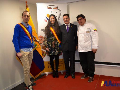 Ceremonia de condecoración de honor a la gastronomía fusión ecuatoriano – española.
