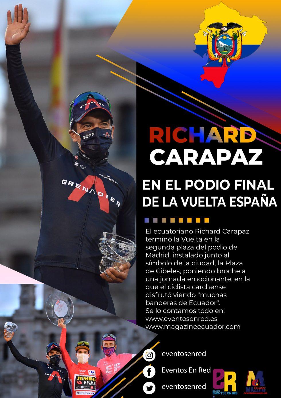 Richard Carapaz celebró el subcampeonato de la Vuelta a España con una multitud de ecuatorianos en Madrid